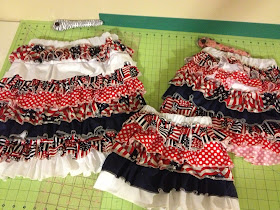 Ruffle Skirts after being sewn for the summer