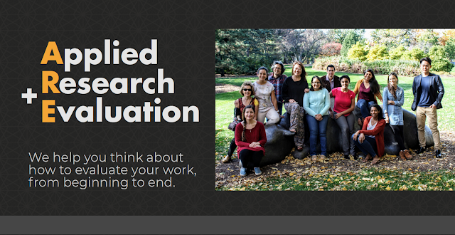 Applied Research and Evaluation. We help you think about how to evaluate your work, from beginning to end. And a group photo of team.