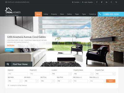 Real estate website design based on RealHomes Wordpress template