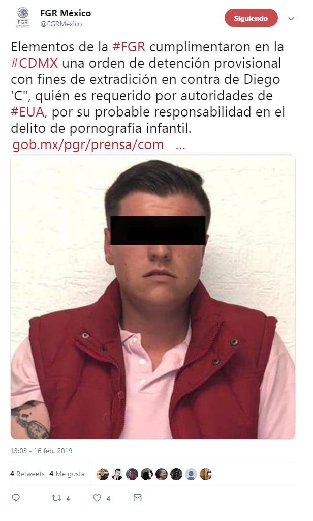 Capturan a sujeto acusado de pornografía infantil