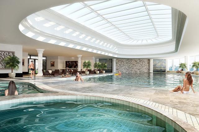 Bể bơi bốn mùa sang trọng giữa tòa CT1A và CT1B