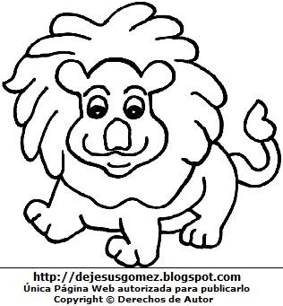 Imagen de un león enseñando dientes para pintar y colorear. Dibujo del león de Jesus Gómez