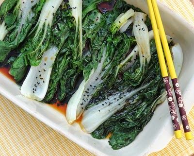 Easy Steamed Bok Choy Salad, steamed in the microwave or in a steamer.