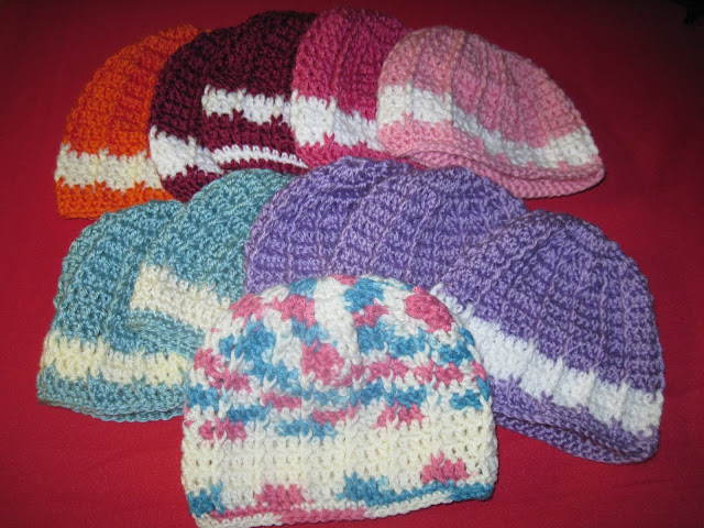 Aunt Ida Hats crocheted for OCC shoeboxes.