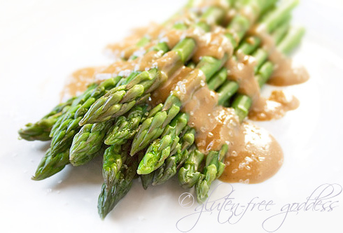 Vegan asparagus with tahini maple dressing is a lovely gluten free side dish