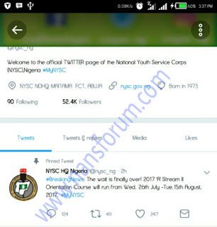 Image for NYSC 2017 Batch A Stream II Date