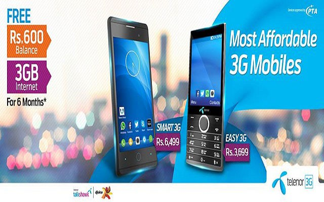 Telenor 3G Mobiles with 6th Month Free internet and Balance