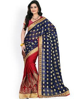 red_blue_chiffon_silk_saree_sale_nepal