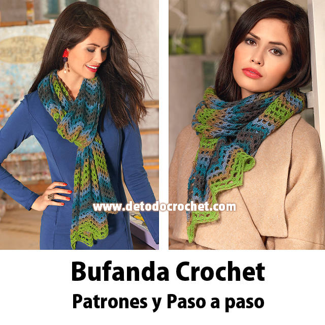 Bufanda Crochet en punto zig zag / Paso a paso | Todo crochet