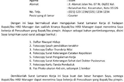 Pdf after ahok the islamist agenda in indonesia. Contoh Surat Lamaran Kerja Kurir J T Express