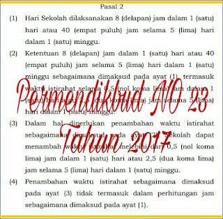 PERMENDIKBUD NO 23 TAHUN 2017 TENTANG LIMA HARI KERJA
