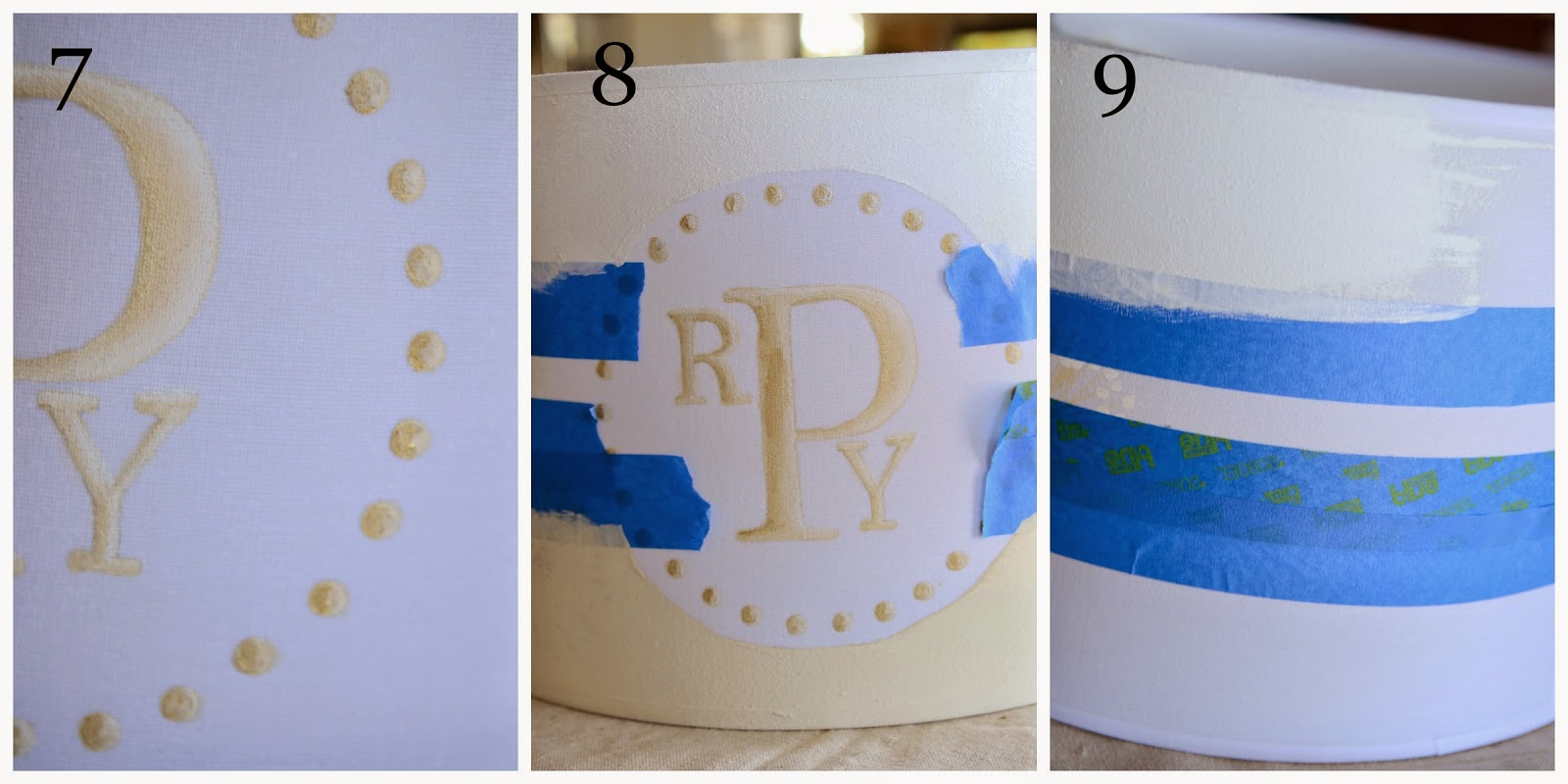 How to paint a monogrammed lampshade stonegable 7 dip a new eraser side of a pencil into the off white paint and make dots all around when dry highlight the right side of the dots with white paint and mozeypictures Images