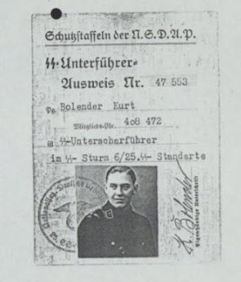 Lidmaatschapskaart van de SS van Kurt Bolender