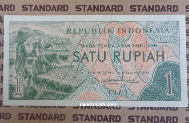 Bagian depan uang 1 rupiah tahun emisi 1961