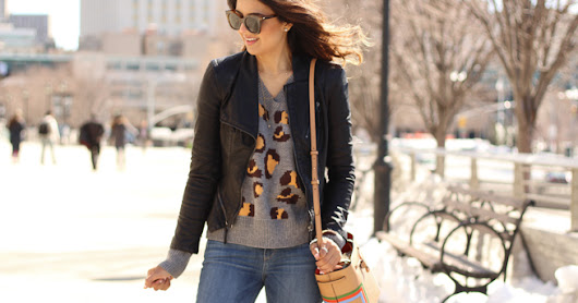 Visiting NYC: Spring Layers and Leopard Sweater