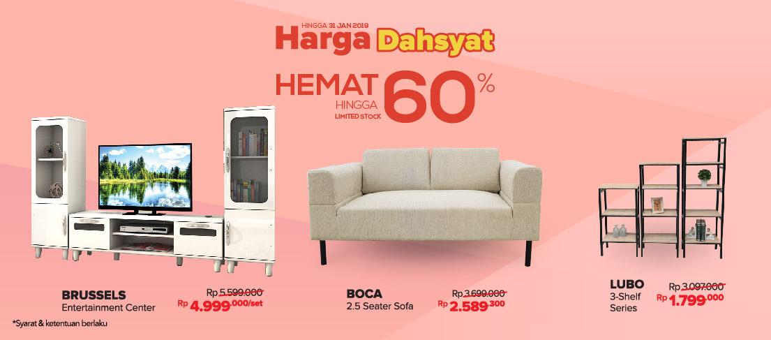 #Informa - #Promo Harga Dahyat Hemat s.d 60% Produk Furnitur & Aksesorisnya (s.d 31 Jan 2019)