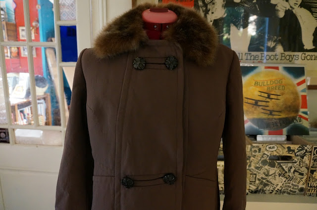 70s brown double breasted coat 1970s faux fur collar vintage