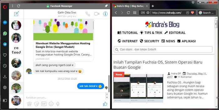 WhatsApp, Facebook Messenger dan Telegram di Browser Opera Terbaru