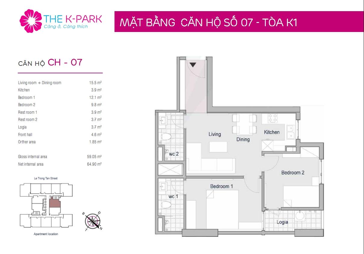 Mặt bằng căn hộ số 07- Tòa K1