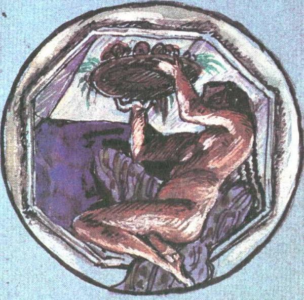 Добужинский Мстислав Валерианович - Медальон Эскиз росписей Казанского вокзала в Москве