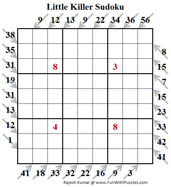 Little Killer Sudoku Puzzle (Daily Sudoku League #144)