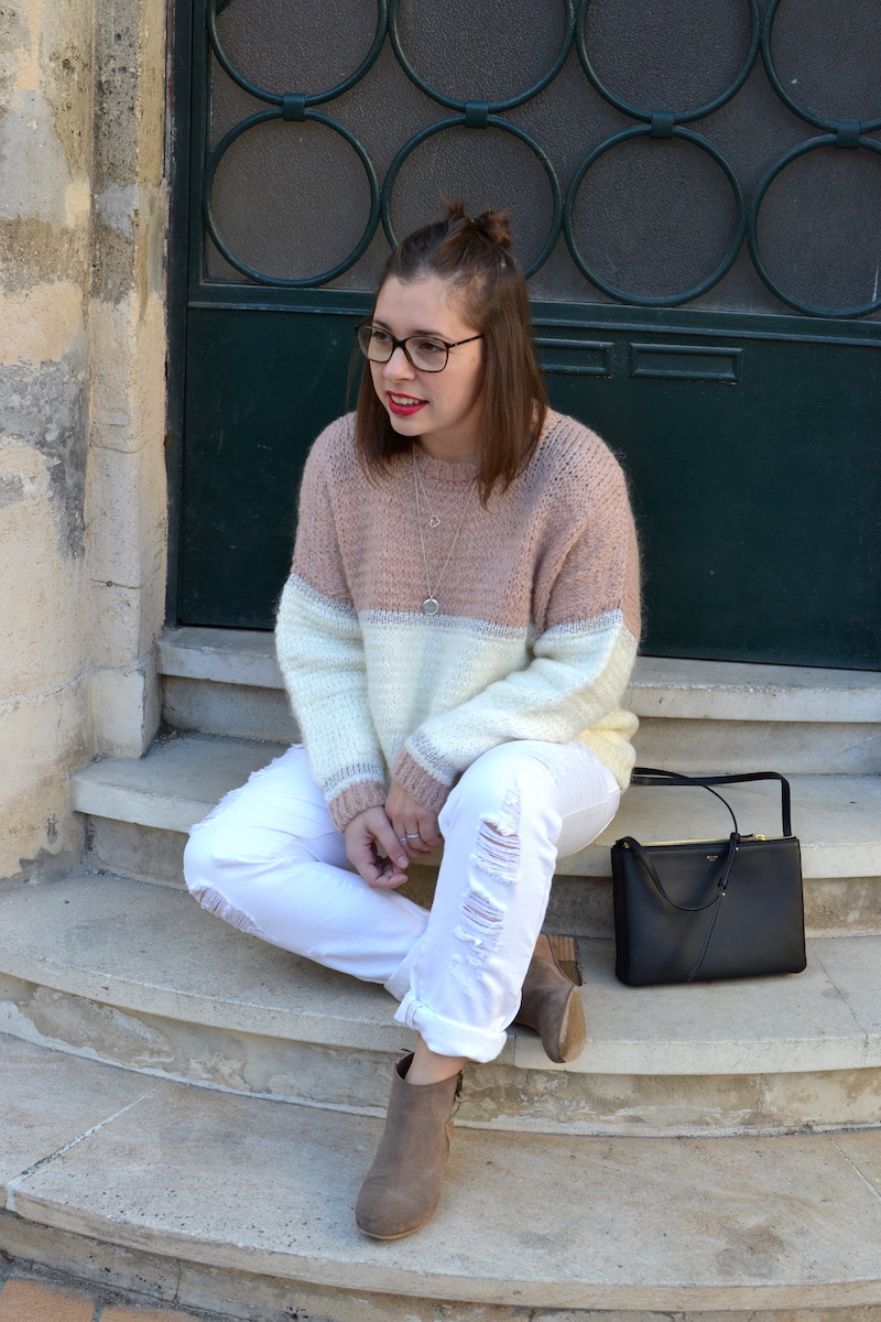 pull an'ge collection, jean blanc Kiabi, bottines bakajoo, trio bag Céline