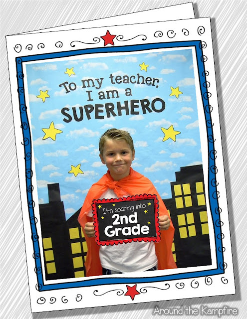 Fun first day (or last day) photo booth with a Superhero theme! The set also includes an editable card. My parents will treasure these!