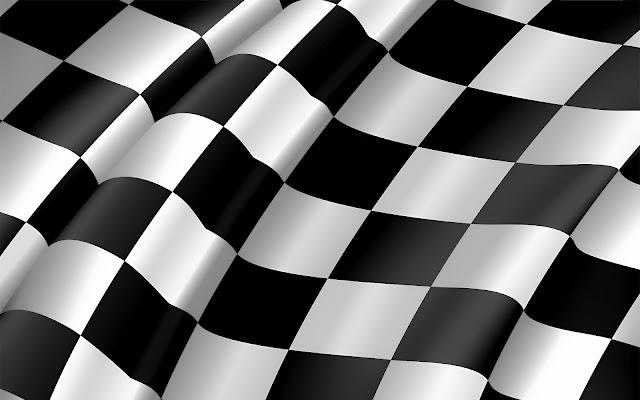 3D zwart wit geblokte vlag