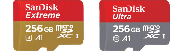 SanDisk Extreme 256GBとUltra 256GB microSDXCの違い