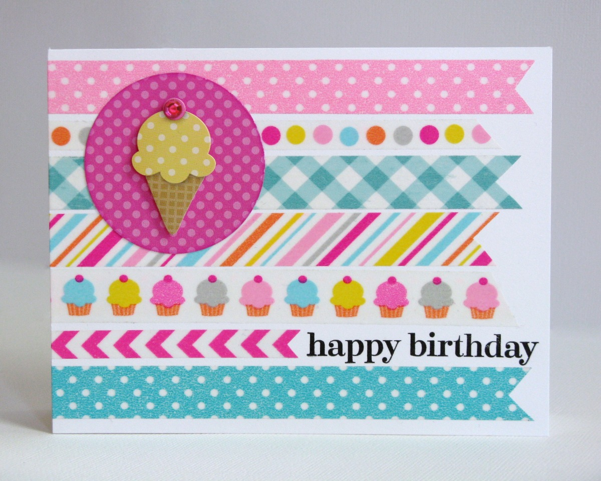 Doodlebug Design Inc. Sugar Shoppe Washi Tape Ice Cream Birthday Card for Kids & Teen Girls by Mendi Yoshikawa