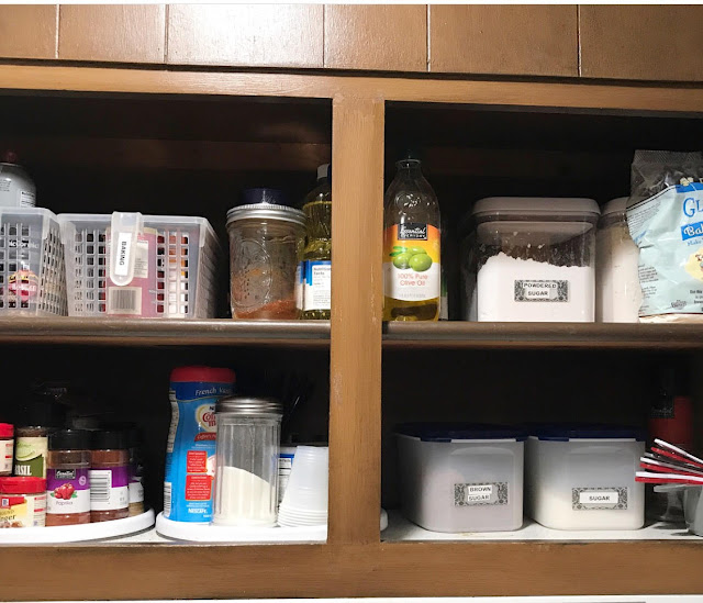 an organized kitchen cabinet