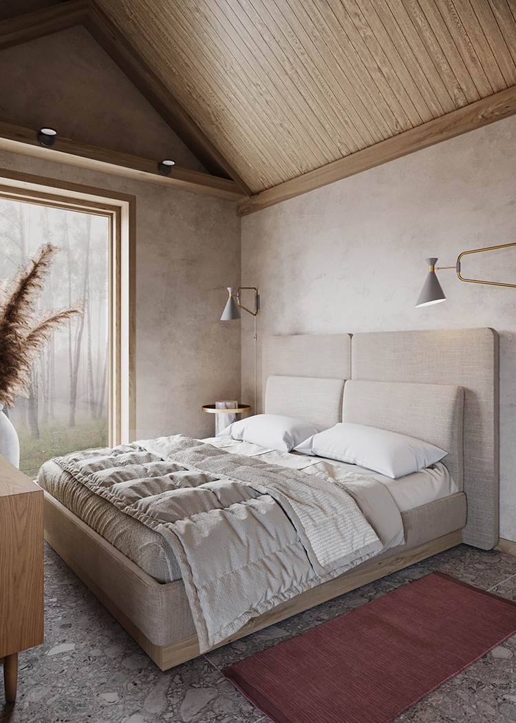 Contemporary small house with natural color palette and textures. Design by Maria Marinina