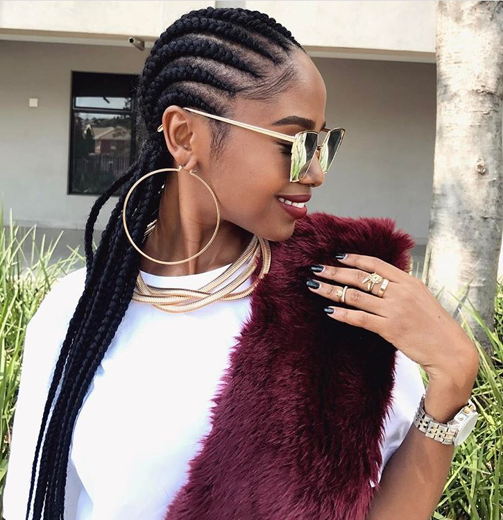 Vanessa Matsena Is Giving Us Hair Inspiration In This Straight Back Cornrow StyleWe Love The Simplicity Of Hairstyle It Can Be Rocked From Office