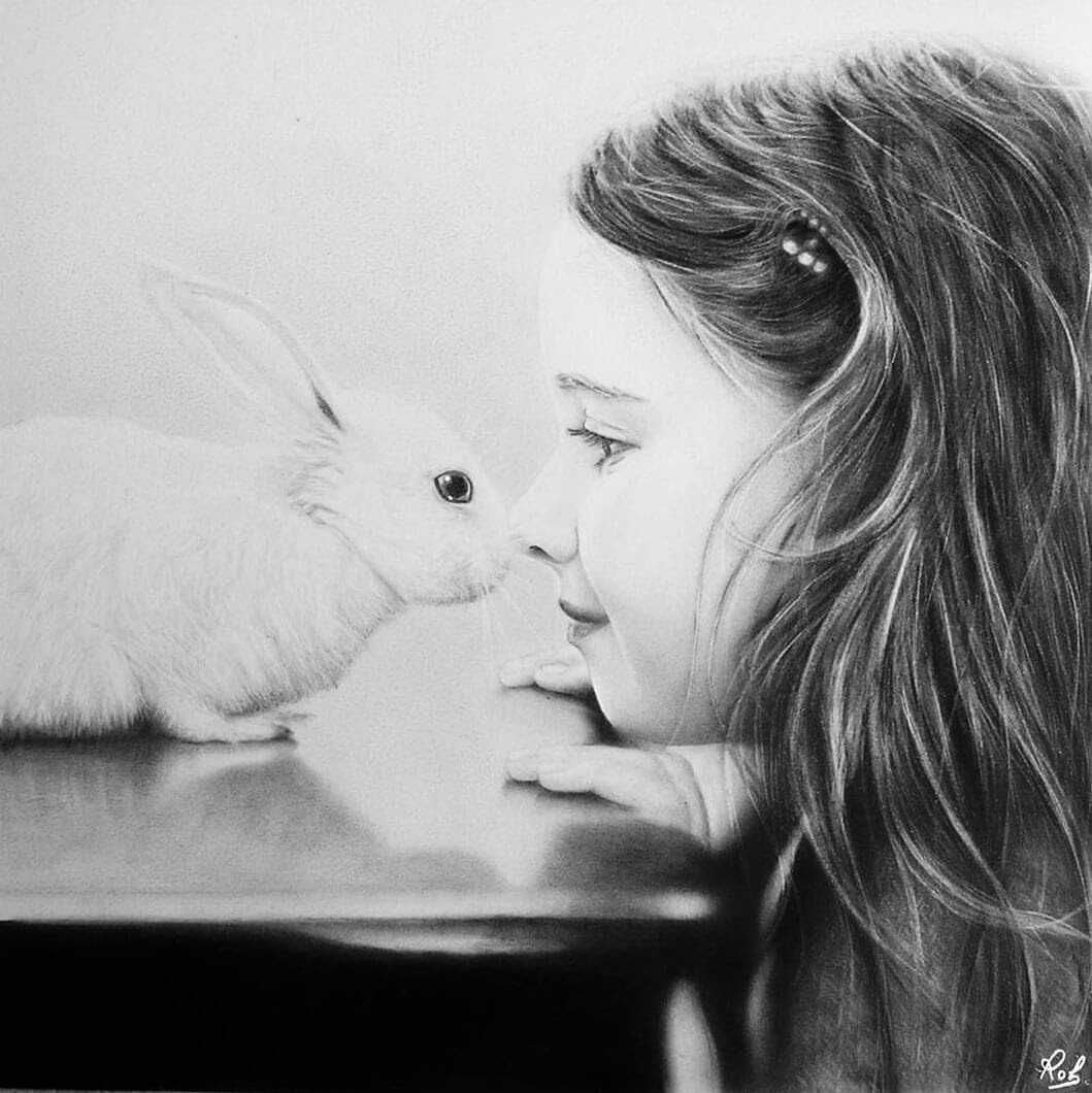 03-The-Girl-and-the-Bunny-Rabbit-Roberto-Matteazzi-Animal-Drawings-in-Black-and-White-Charcoal-Portraits-www-designstack-co
