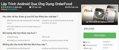 Share Khóa Học Lập Trình Android Qua Ứng Dụng OrderFood