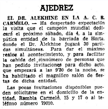 Recorte de La Vanguardia sobre Alekhine, 1944