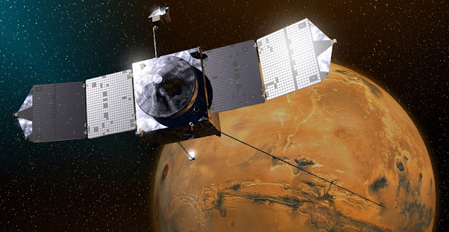 This artist's sketch shows MAVEN above Mars. Credits: Lockheed Martin