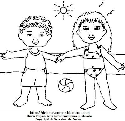 Dibujo de Verano para colorear, pintar e imprimir para niños. Dibujo de verano hecho por Jesus Gómez