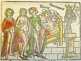 bcce8076e3d2 Above is a book illustration from a German translation of Giovanni  Boccaccio's Famous Women, which was published in 1474. It displays the  ladies-in-waiting ...