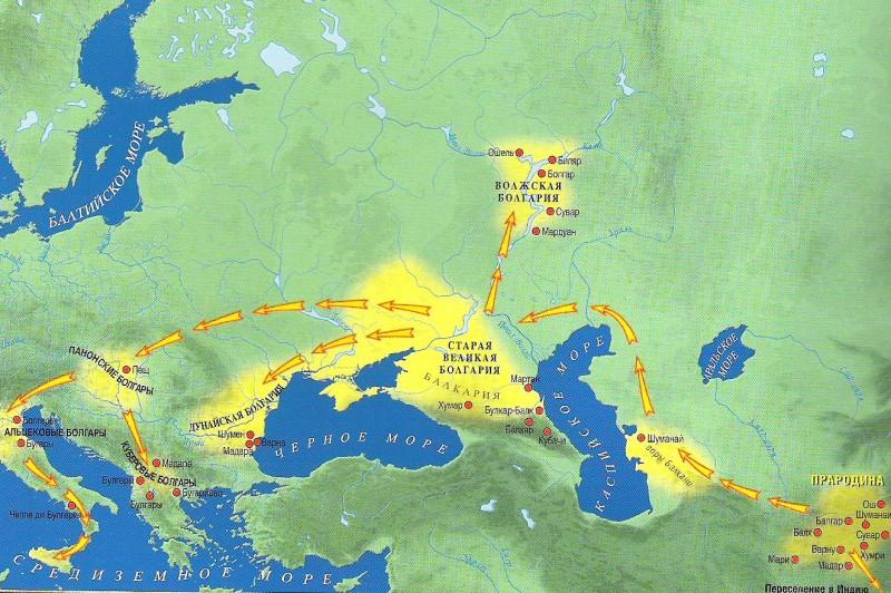 Великая Кавказская Болгария, Волжская Болгария, Дунайская Болгария