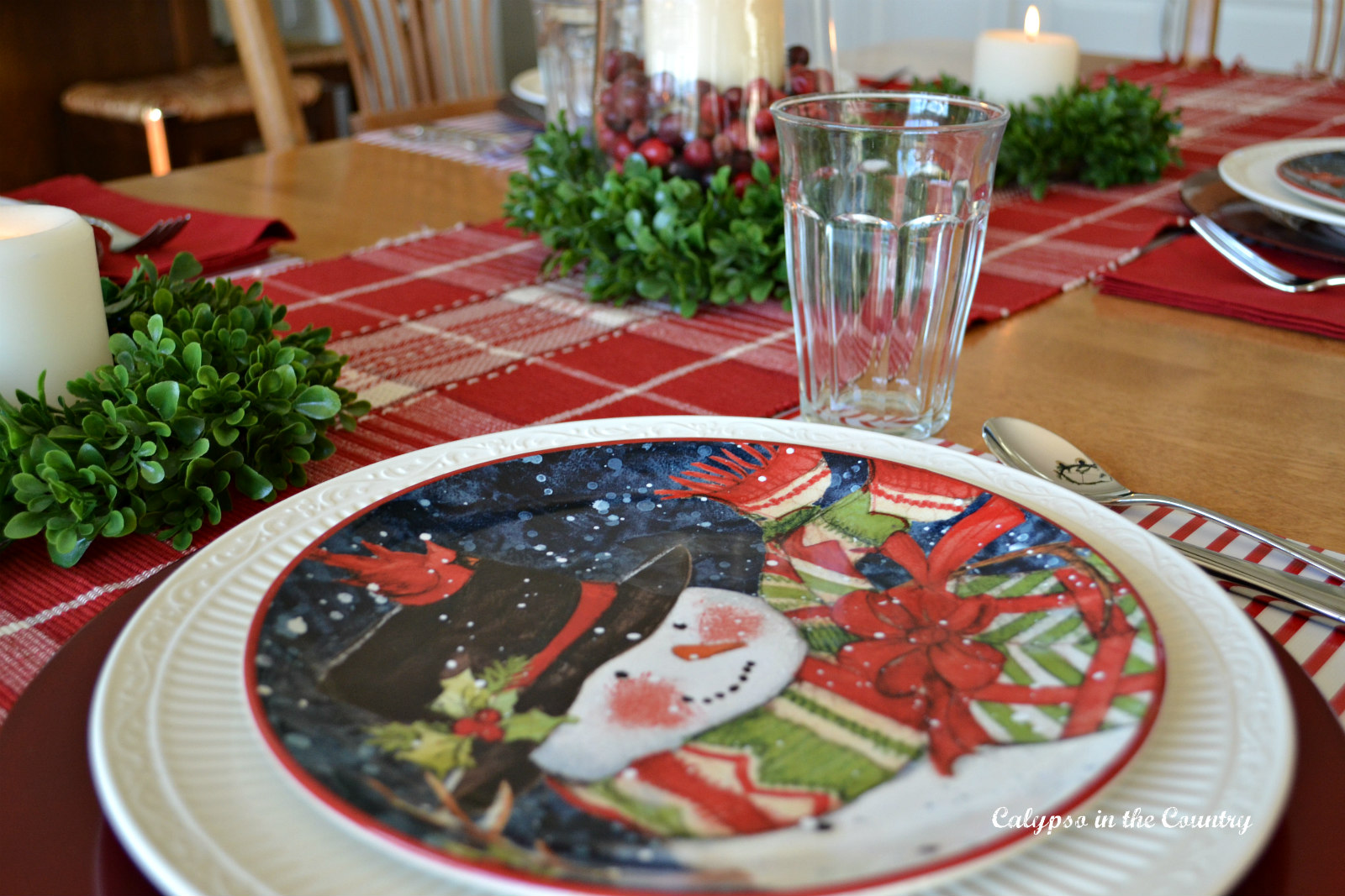 Snowman Place Setting on Christmas Table