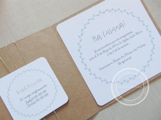 Invitación de boda moderna y sencilla con corona vegetal mint