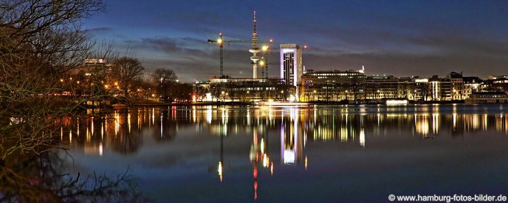Hamburg Panorama Skyline Alster mit Fernsehturm