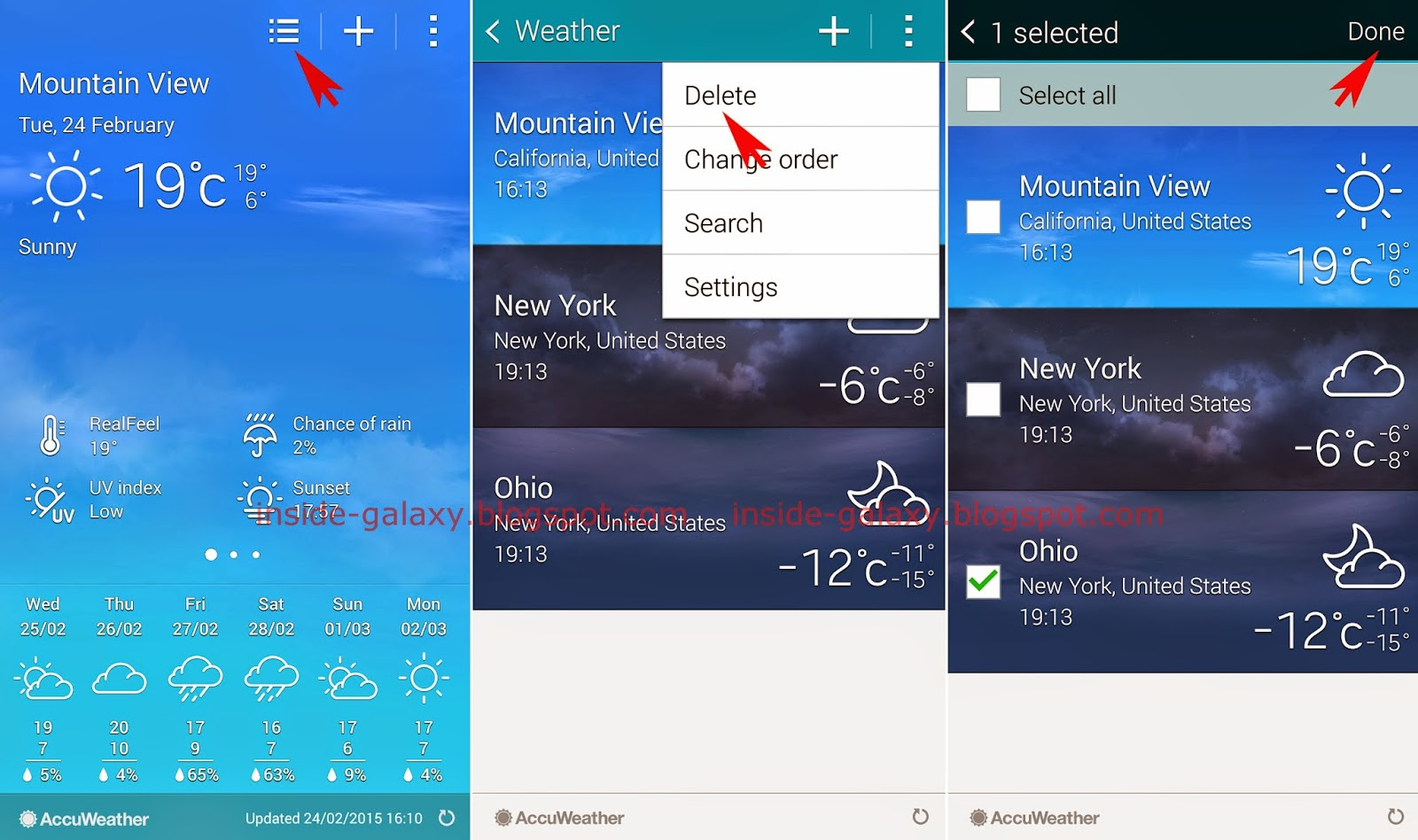 Samsung Galaxy S5: How to Add or Remove a City in ...