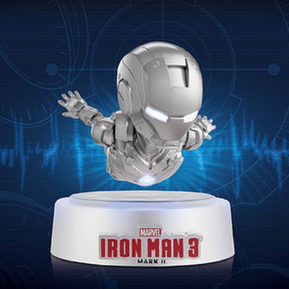 une figurine d'Iron Man qui flotte.