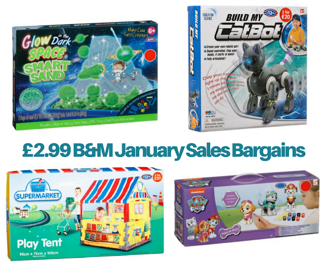 A collage of toys from B&M including Glow In The Dark Space Sand, Build My Cat Bot, Supermarket play Tent and Paint & Play Paw Patrol