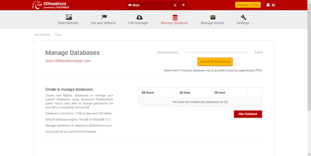 Mengenal Fungsi Menu di Free Web Hosting 000webhost