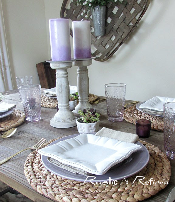 Pretty purple and white summer table setting