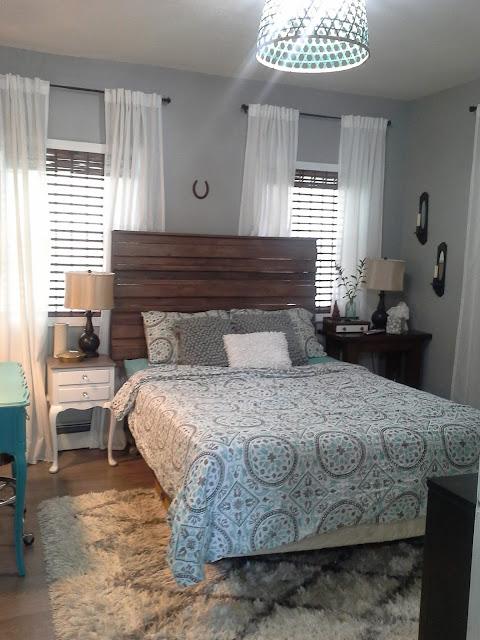Rustic headboard nightstand teal white Moroccan rug