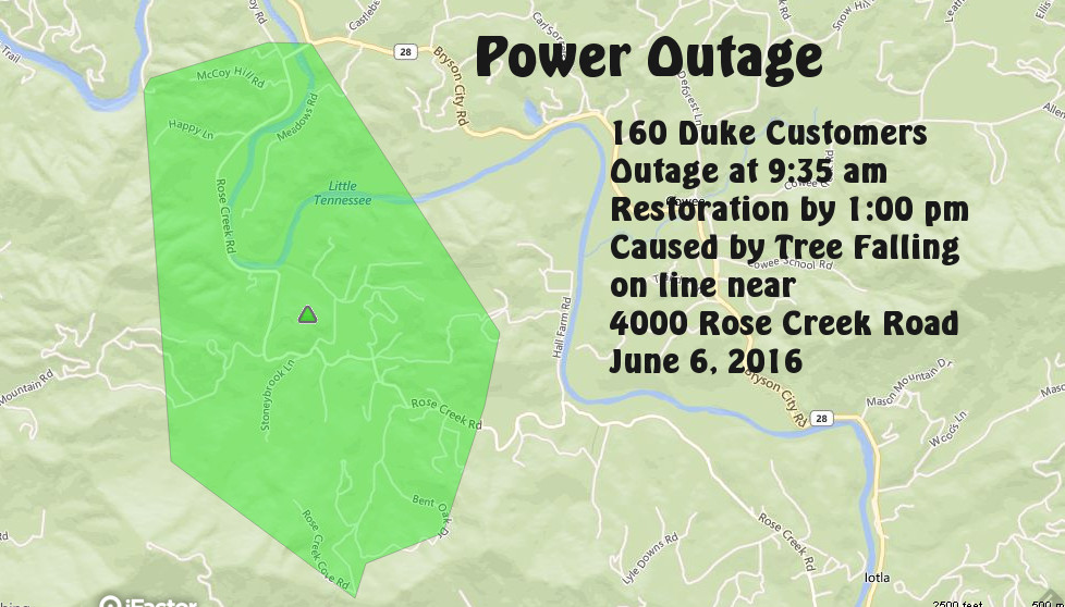 Map of outage area provided by Duke Energy